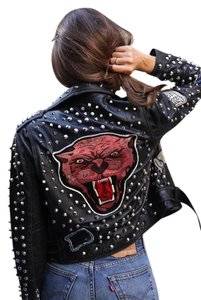 Zara Studs Patches Tiger Studded Leather Jacket