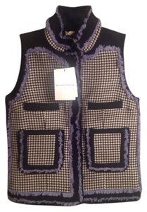 Balenciaga Made In France 100% Wool Fringed Trim Detail Vest