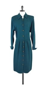 St. John Teal Knit Long Sleeve Shirt Dress