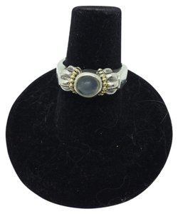 Lagos size 6.25, sterling silver, 18k yellow gold, moonstone, cabochon ring