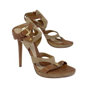 Hervé Leger Tan & Khaki Leather Strappy Heels Sandals