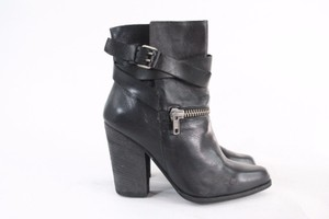 JOE'S Jeans Black Leather Buckle Ankle Boots