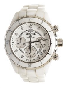 Chanel Chanel White Ceramic and Diamond J12 33 MM Women's Watch