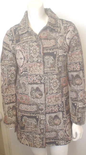 Item - Multi-color Black Beige Taupe Tapestry Lined Career Polished Style S Jacket Size 4 (S)