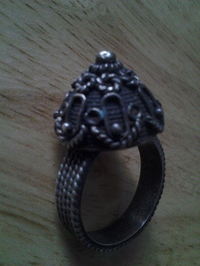 handmade Real COIN SILVER Vintage Handcrafted 3D Dome RING Intricate Design Image 1
