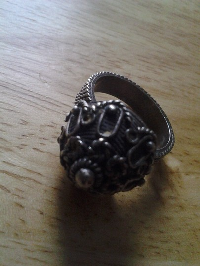 handmade Real COIN SILVER Vintage Handcrafted 3D Dome RING Intricate Design Image 4