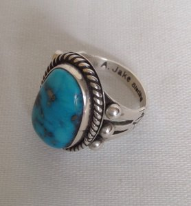 Albert Jake A. Jake Sterling Silver Turquoise Native Navajo Ring 6.5