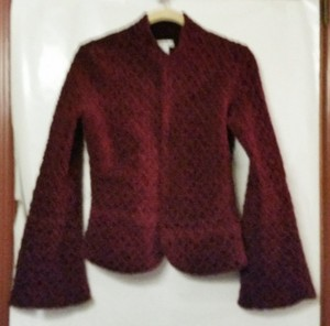 Cache Fitted Velvet Textured burgundy Jacket