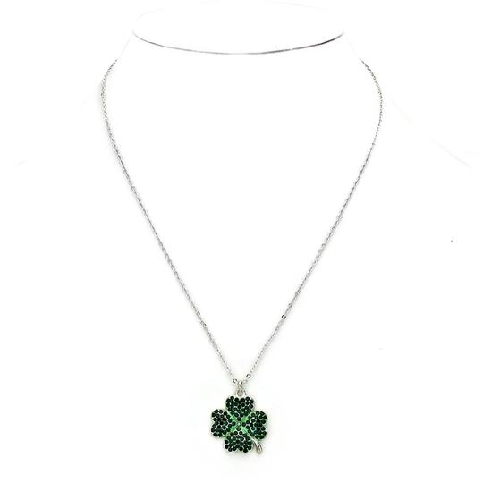 Preload https://img-static.tradesy.com/item/1989092/green-rhodium-emerald-crystal-pave-clover-silver-color-chain-necklace-0-0-540-540.jpg