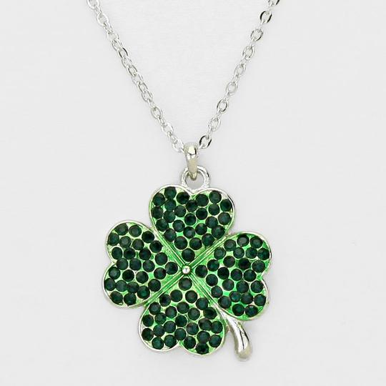 Other Emerald Green Crystal Pave Clover Rhodium Silver Color Chain Necklace Image 1