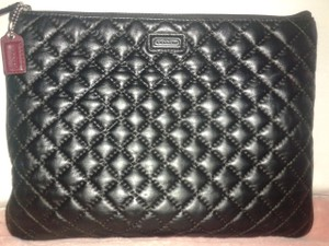 Coach COACH Black Quilted Leather Ipad/tablet Clutch Handbag