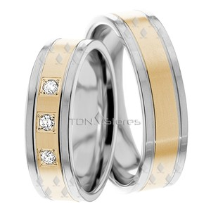 Three Stone Stylish Diamond Matching Wedding Band Set Solid 14k Gold His And Hers Matching Wedding Rings Diamond Wedding