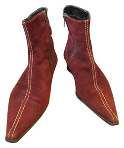 Sundance Suede Pointy Dark Red Maroon Boots
