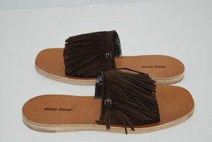 Miu Miu Suede Fringe BROWN Sandals