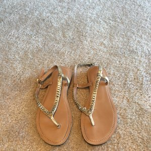 BCBG Paris Tan and Gold Sandals