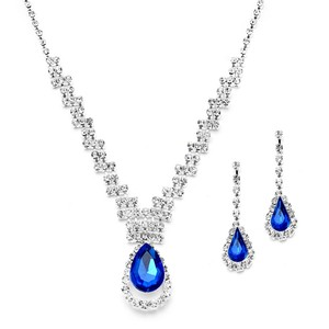 Mariell Prom Or Bridesmaids Rhinestone Necklace Set With Royal Blue Caged Pear 4140s-ry