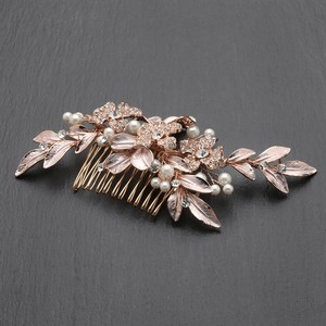 Mariell New! Designer Bridal Hair Comb With Hand Painted Rose Gold Leaves And Pave Crystals 4437hc-i-rg