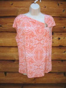 Michael Kors Plus-size Asymmetrical Paisley Top Orange White