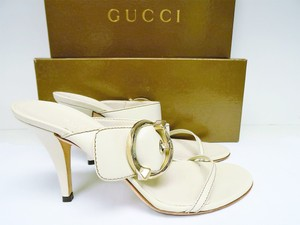 Gucci White Leather Ivory Sandals