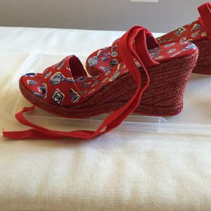 Chanel Red with tennis racket and balls design Wedges