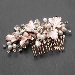 Mariell New! Couture Bridal Hair Comb With Hand Painted Rose Gold Leaves Freshwater Pearls And Crystals 4439hc-i-rg