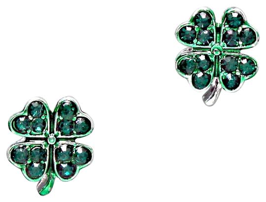 Other Emerald Green Pave Crystal 4 Leaf Clover Stud Earring