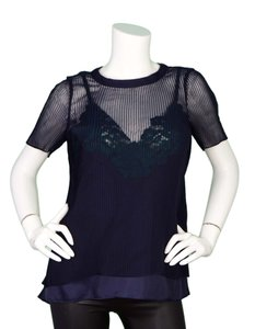 sacai Pleated Sheer Lace T-shirt Top Navy