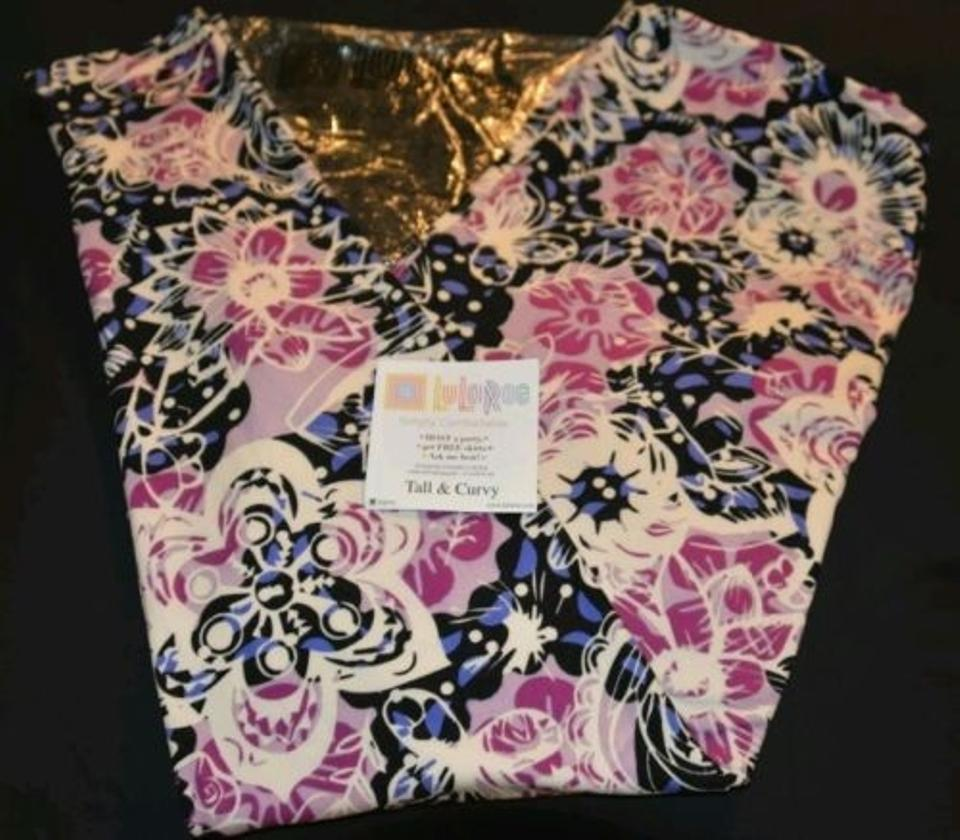 7a7616d611d6a3 LuLaRoe Tc Black & Purple Flowers Butterflies Htf Leggings. Size: 16 (XL ...
