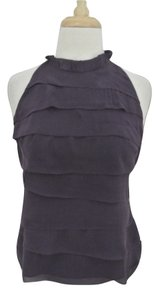 Vince Silk Pleated Sleeveless High Neck Top purple