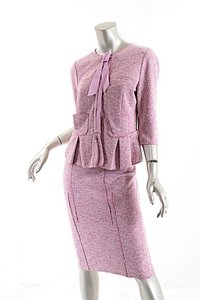 Nina Ricci NINA RICCI Pink & White Nubby Fabric SILK Two Piece Skirt Suit