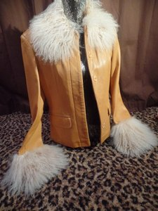 Oscar Leopold Leather Faux Fur Leather Collectible Rare Camel Jacket