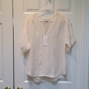 Rebecca Taylor Silk V-neck Short Sleeve Top Latte