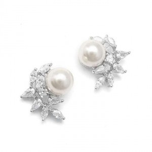 Mariell Silver Pearl and Cz Crescent Earrings