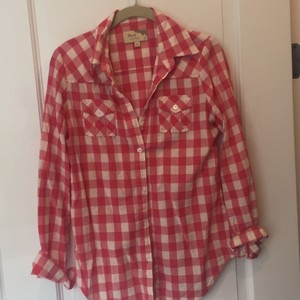 Elizabeth and James Button Down Shirt Rose Pink ans Cream plaid