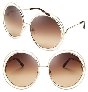 Chloé Carlina Round Wire-Frame Sunglasses Transparent Beige Shaded