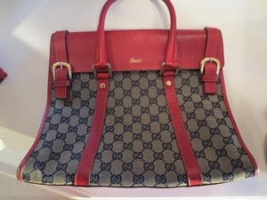 Gucci Leather Navy Tote in Red
