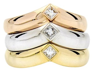 Cartier Vintage Cartier Princess Diamond V Band Gold Ring Set