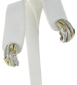 David Yurman David Yurman Labyrinth Earrings Double Loop Diamond Shrimp Huggies 18k 925