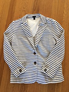 J.Crew Preppy Nautical white and blue striped Blazer