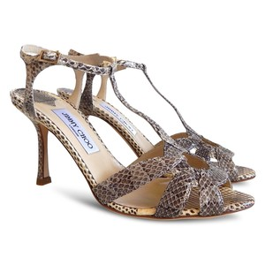 Jimmy Choo Snakeskin Pebbled Ankle Strap Beige, Brown Sandals