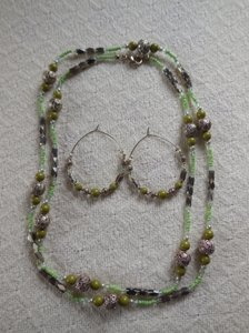Green Beaded Necklace and Earrings