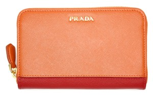 Prada PRADA Wallet Saffiano Leather Stripe Papaya Fuoco 1M1157