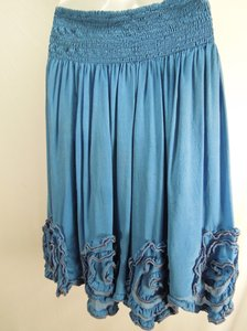 French Connection Silk Boho Indie Tradesy Skirt Blue