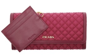 Prada PRADA Wallet Nylon Leather Quilted Wallet ID Holder Ibisco 1M1132