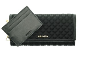 Prada PRADA Wallet Nylon Leather Quilted Wallet ID Holder Black 1MH132