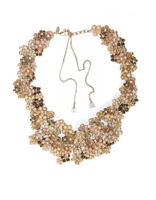 Chanel Beige and Pink Runway Pague Camelia Bib Necklace Image 1