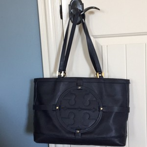 Tory Burch Dust Blue Leather Tote in Navy