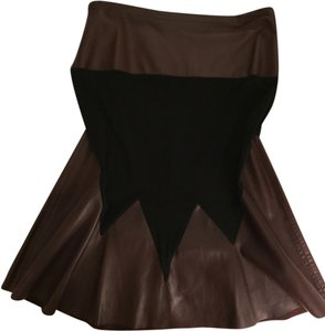 Fendi Skirt Black Jersey with Burgandy Leather