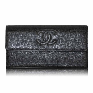 Chanel Chanel Black Caviar Leather Long Wallet