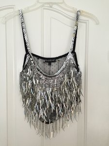 bebe Vintage Sequins Top Black and silver
